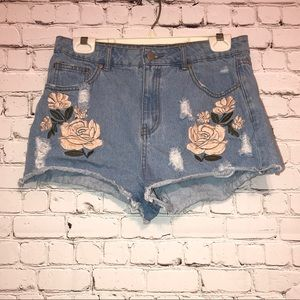 Forever 21 Distressed Denim Cheeky Shorts Flowers